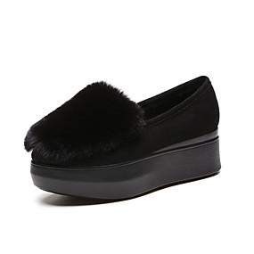 voordelige Damesinstappers & loafers-Dames Loafers & Slip-Ons Creepers Ronde Teen Suède Lente zomer Zwart / Grijs