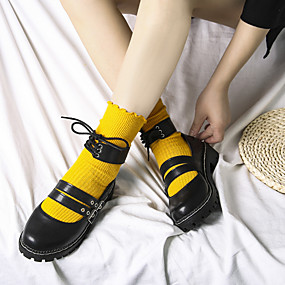 voordelige Damesschoenen met platte hak-Dames Platte schoenen Blokhak Ronde Teen Gesp / Gestrikt lint Imitatiebont Klassiek / minimalisme Herfst winter Zwart