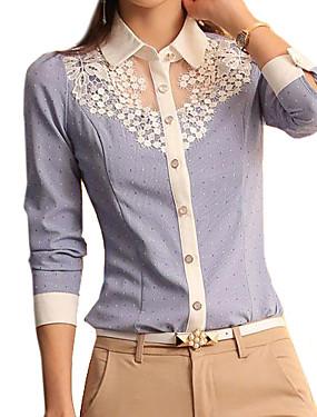 billige More-Skjortekrage Skjorte Dame - Ensfarget, Blonde BLå & Hvit Lyseblå / Vår