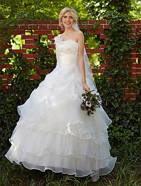 cheap Sample Dresses Sale-Ball Gown One Shoulder Floor Length Organza Made-To-Measure Wedding Dresses with Beading / Appliques / Pick Up Skirt by LAN TING BRIDE®