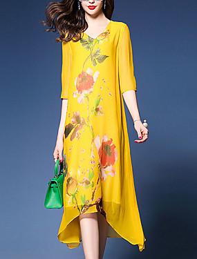 3a75aa8ff105 Γυναικεία Εξόδου Μπόχο Κομψό στυλ street Φαρδιά Σε γραμμή Α Φόρεμα -  Φλοράλ