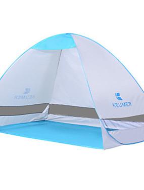 رخيصةأون رياضة والخارجية-KEUMER 2 الأشخاص خيمة للشاطئ في الهواء الطلق مكتشف الأمطار مكتشف الغبار طبقة واحدة خيمة التخييم 1500-2000 mm إلى التخييم والتنزه بولي / قطن جلد البولي يوريثان كنفا