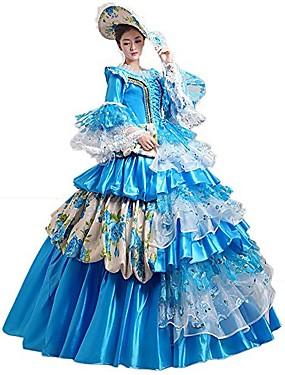 halpa Lelut ja harrasteet-Prinsessa Queen Mekot Cosplay-Asut Ball Gown Viktoriaaninen Keskiaika Renessanssi Party Prom Halloween Karnevaali Uusi vuosi Festivaali / loma Sininen Karnevaalipuvut Pluskoko Räätälöidyt