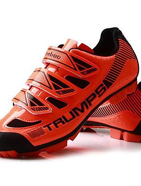 billige Sport og friluftsliv-Tiebao® Mountain Bike-sko Karbonfiber Anti-Skli Sykling Svart / Gul Svart / Oransje Herre Sykkelsko / ånd bare Blanding / Krok og øye