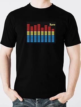 tanie Kostiumy karnawałowe-T-shirty LED Podświetlenie / Modny design / Electro luminescentowe Czysta bawełna Impreza / Casual 2 akumulatory AAA