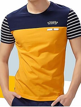 billige Weekly Deals-Rund hals Herre - Stribet / Farveblok Bomuld, Patchwork Plusstørrelser T-shirt Blå / Kortærmet