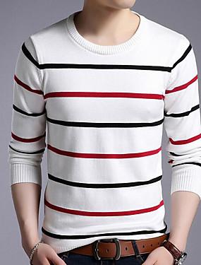 voordelige Weekly Deals-Heren Dagelijks Gestreept Lange mouw Normaal Pullover, Ronde hals Wit / Donkergrijs / Marineblauw XL / XXL / XXXL