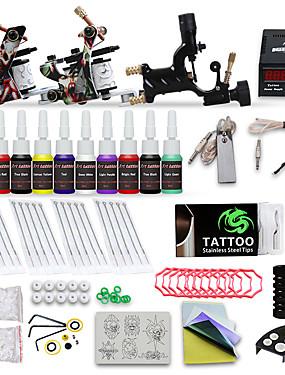 abordables Beauté & Cheveux-DRAGONHAWK Machine à tatouer Kit pour débutant - 3 pcs Machines de tatouage avec 10 x 5 ml encres de tatouage, Niveau professionnel, Tension Réglable, Facile à installer Alliage LCD alimentation Case