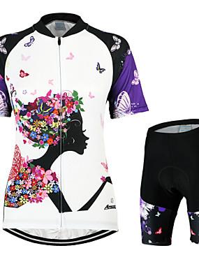 ieftine Sport i aktivnosti na otvorenom-Arsuxeo Pentru femei Manșon scurt Jerseu Cycling cu Pantaloni Scurți Alb / Negru Fluture Bicicletă Costume Respirabil 3D Pad Uscare rapidă Design Anatomic Înapoi de buzunar Sport Poliester Elastan