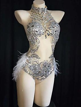 cheap Weddings & Events-Dance Costumes Exotic Dancewear / Nightclub Jumpsuits Women's Performance Spandex Feathers / Fur / Crystals / Rhinestones Sleeveless Leotard / Onesie