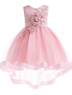 cheap Sample Dresses Sale-A-Line / Princess Asymmetrical / Midi Flower Girl Dress - Organza / Tulle / Satin Chiffon Sleeveless Jewel Neck with Petal / Appliques / Fringe by LAN TING Express