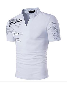 お買い得  エディターズチョイス-男性用 スポーツ - プリント Tシャツ 活発的 / ボヘミアン スタンド スリム 幾何学模様 コットン / 半袖