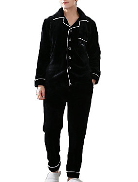 Недорогие Мужские пижамы и халаты-Муж. Рубашечный воротник Костюм Пижамы Однотонный
