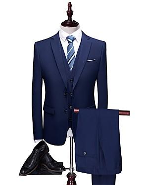 billige Bryllup & Eventer-Mørk Marineblå Ensfarget Skreddersydd Polyester Dress - Med hakk Enkelt Brystet To-knapp / drakter