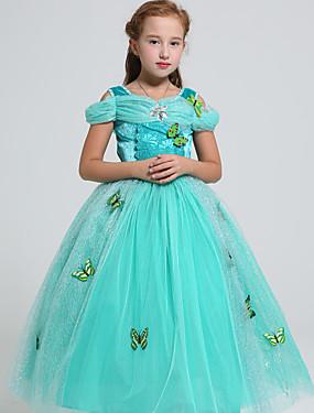 povoljno Igračke i hobiji-Princess Jasmine Cosplay Nošnje Dječji Djevojčice Halloween Božić Halloween Karneval Festival / Praznik Til Polyster Zelen Karneval kostime Princeza