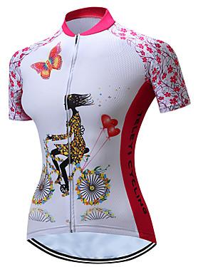 povoljno Sport és outdoor-TELEYI Žene Kratkih rukava Biciklistička majica Pink Cvjetni / Botanički Veći konfekcijski brojevi Bicikl Biciklistička majica Majice Prozračnost Ovlaživanje Quick dry Sportski Poliester Brdski