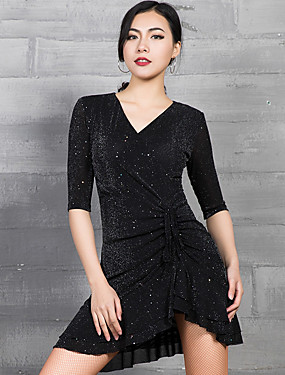 cheap Weddings & Events-Latin Dance Dresses Women's Performance Spandex Glitter / Ruching Half Sleeve Dress