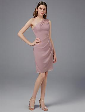 96eb9b68bb4f Pouzdrové Jedno rameno Nad kolena Síťka Šaty pro družičky s Nabírání podle  LAN TING BRIDE®