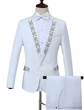 abordables Costumes & Blazers Homme-Homme Travail Business Normal costumes, Géométrique Col Rond Claudine Manches Longues Polyester Blanc XXL / XXXL / XXXXL