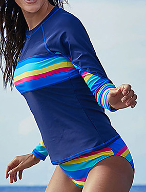 cheap Sports & Outdoors-Delamon Women's Rashguard Swimsuit Ultra Light (UL) Quick Dry Wearable Nylon Chinlon Elastane Long Sleeve Swimwear Beach Wear Swimwear Painting 2-Piece Swimming Surfing / Stretchy