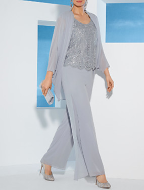 cheap New Arrivals-Two Piece / Pantsuit / Jumpsuit Jewel Neck Ankle Length Chiffon / Lace Mother of the Bride Dress with Lace by LAN TING Express / Wrap Included
