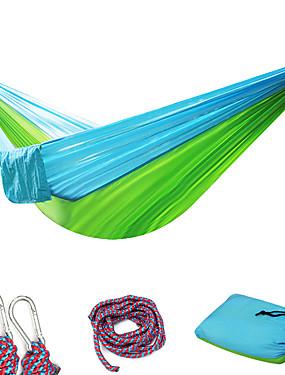 저렴한 스포츠 & 아웃도어-캠핑 해먹 더블 해먹 집 밖의 휴대용 울트라 라이트 (UL) 통기성 낙하산 나일론 카라비너와 나무 끈으로 용 2 사람 수렵 피싱 하이킹 그린 + 그레이 블루 + 핑크 로즈 핑크  / 블루