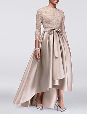 billige Bryllupsbutikken-A-linje Besmykket Asymmetrisk Blonder / Sateng Kjole til brudens mor med Sløyfe(r) / Plissert av LAN TING Express