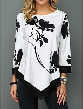 povoljno Ženske majice-Majica s rukavima Žene - Ulični šik Dnevno Cvjetni print Obala