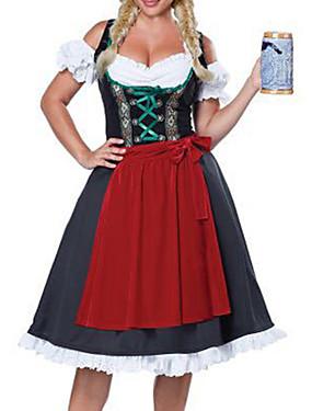 billige Leker og hobbyer-Karneval Oktoberfest Dirndl Trachtenkleider Dame Kjole Forkle bayerske Kostume Rød