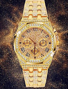 baratos Novas Chegadas-Homens Relógio Elegante Japanês Quartzo Pavimentar Aço Inoxidável Prata / Dourada 30 m Cronógrafo Relógio Casual imitação de diamante Analógico Luxo Rhinestone Fashion - Dourado Prata Dois anos Ciclo