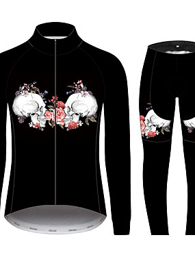 cheap Sports & Outdoors-21Grams Sugar Skull Women's Long Sleeve Cycling Jersey with Tights - Black / White Bike Clothing Suit Windproof UV Resistant Breathable Sports 100% Polyester Mountain Bike MTB Clothing Apparel