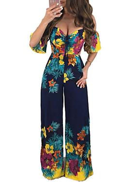 billige Jumpsuits til damer-Dame Grunnleggende Hvit Navyblå Kjeledresser, Blomstret Trykt mønster S M L
