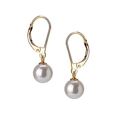 14k Gold White 7.5 - 8mm AAAA Freshwater Pearl Earring