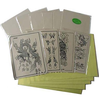 10 x peaux pratiques de tatouage et de 10 x papier transfert