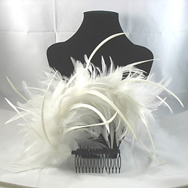 Feather Alloy Hair Combs Headpiece Elegant Classical Feminine Style