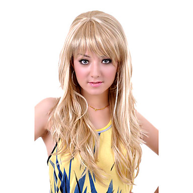 Sentetik Peruklar Dalgalı Sarışın Sentetik Saç 24 inç Sarışın Peruk Kadın's Bonesiz