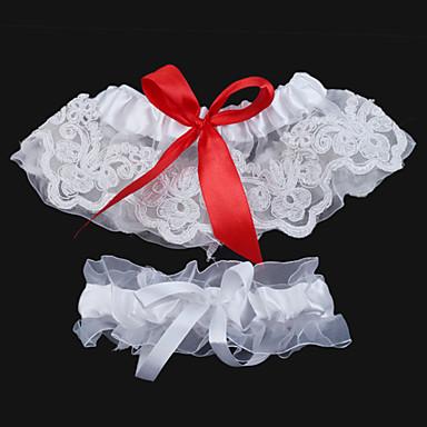 2 peças de rendas com ligas de cetim lindo casamento bowknot