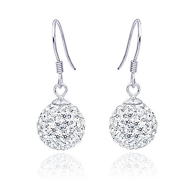 Platinum Plated 925 Sterling Silver And Rhinestone Earrings