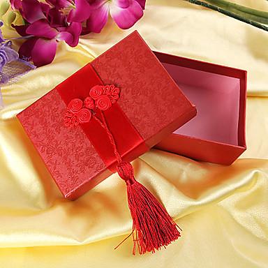 Aziatische stijl geschenkdoos met rode kwasten (set van 6)