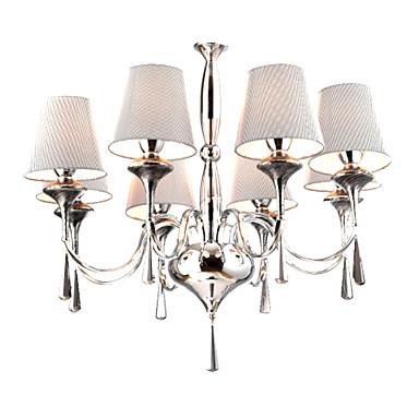 GOLETA - Kroonluchter Moderne Stijl van Kristal met Stoffen Lampenkap met 8 Lampen