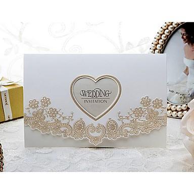Împăturit în 3 Invitatii de nunta Invitații Stil Oficial Stil modern Stil Floral Hârtie Reliefată 6 ½