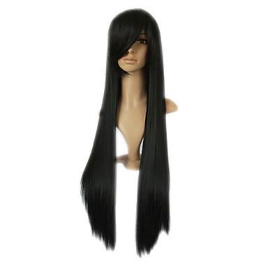 capless longa alto grau de qualidade peruca festa fantasia sintético preto