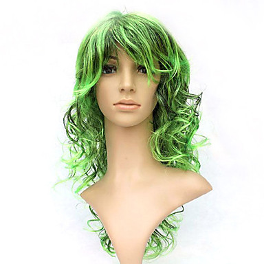 Capless Long 100% Kasi Fiber Green Costume Party Wig