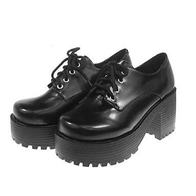 Παπούτσια Κλασσική / Παραδοσιακή Lolita Σχολική Λολίτα / Lolita Ψηλοτάκουνο Παπούτσια Μονόχρωμο 7 cm CM Για Συνθετικό δέρμα / Πολυουρεθάνη Δέρμα / Πολυουρεθάνη Δέρμα