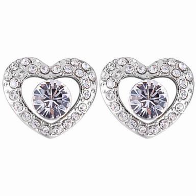 Crystal In Rhinestone Studded Heart Stud Earrings