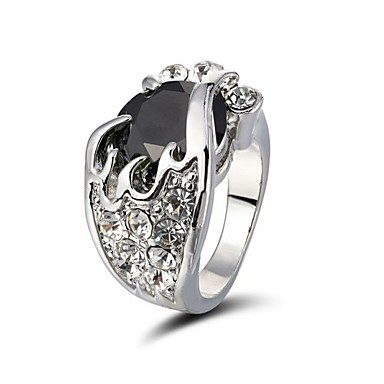 glanzende steentjes ring met legering verzilverd meer kleuren beschikbaar