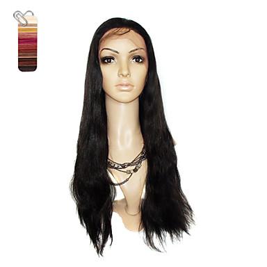 billige Blondeparykker med menneskehår-Rett / Silke Rett Stil Helblonde Parykk #27 Middels Auburn Bleik Blond Ekte hår 24 tommers Dame Parykk