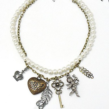Irregular White Imitation Pearl Alloy Necklace