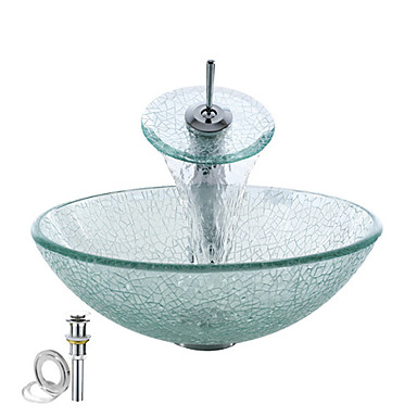 Round transparent tempered glass vessel sink with waterfall faucet pop up and mounting ring - Waterfall faucet for sink ...