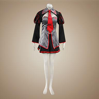 แรงบันดาลใจจาก Vocaloid Zatsune Miku วีดีโอ เกม คอสเพลย์และคอสตูม ชุดคอสเพลย์ / ชุดเดรส ลายต่อ แขนยาว เสื้อโค้ท กระโปรง เครื่องประดับศรีษะ เครื่องแต่งกาย / ซาติน
